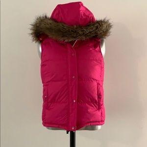Gap vest fur hood pink
